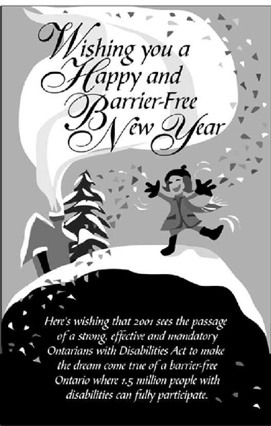 Black and White ODA New Year's 2001 greeting card